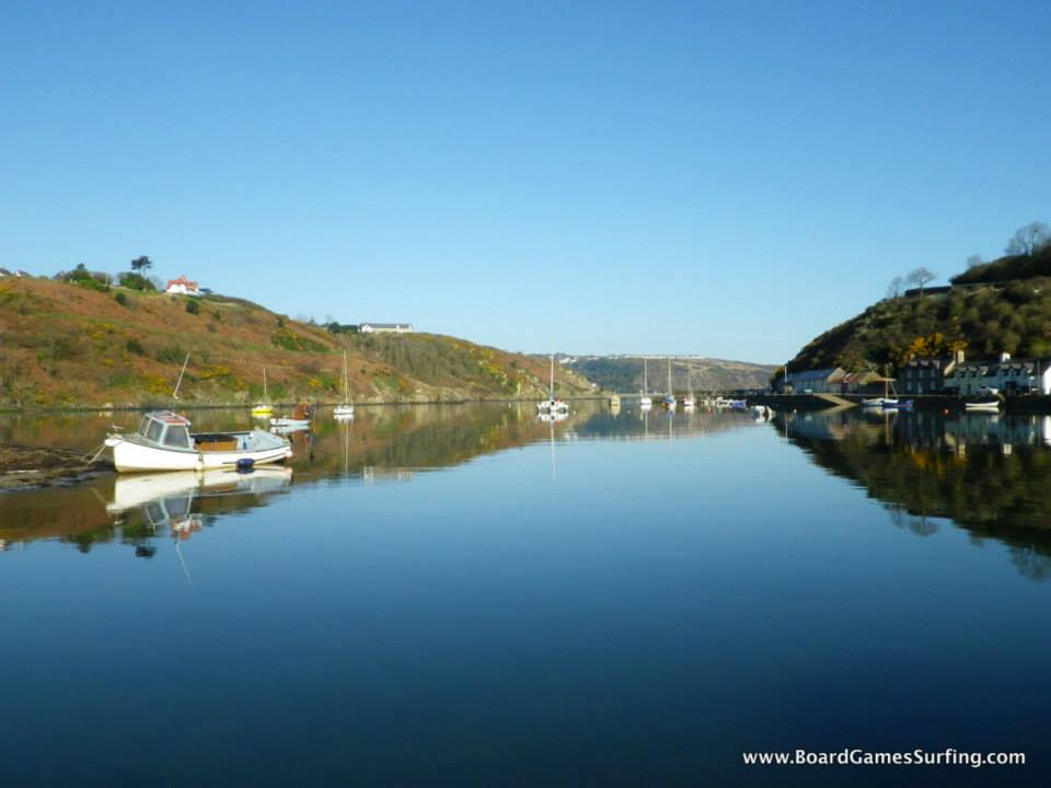 Flat calm sea at Lower Town Fishguard Pembrokeshire