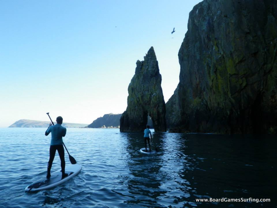 Paddleboarding to Needle Rock Fishguard Pembrokeshire