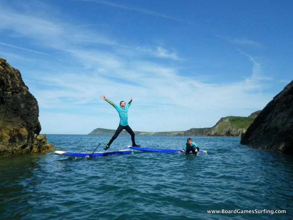 Stand up Paddleboarding fun in Pembrokeshire Wales