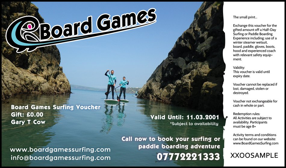 Wedding Gift Experience Vouchers : Gift Vouchers for Surfing & Paddle Boarding. Pembrokeshire, WalesBoard ...