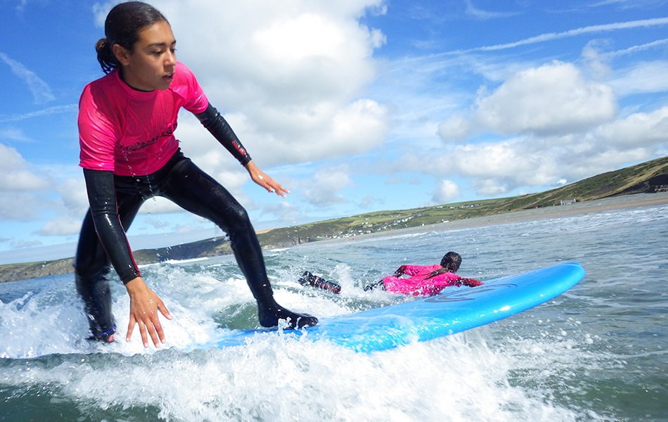 Children learning to surf in Wales