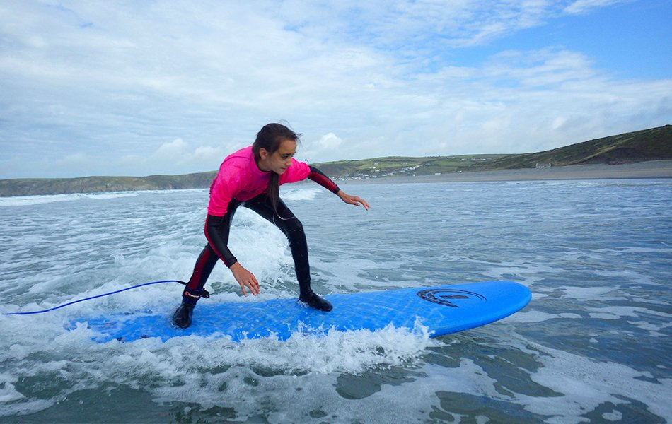 Girls surfing in Wales