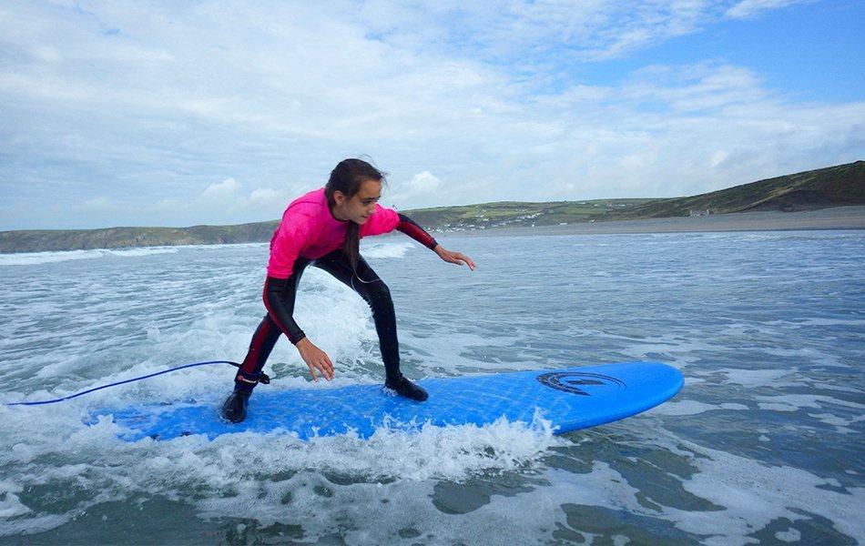 Girls surfing in Wales
