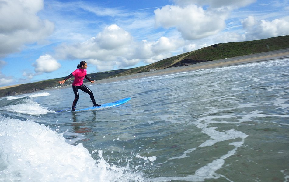Family surfing activities in Wales