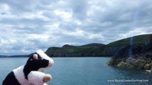 Gary The Cow adventuring on the Pembrokeshire coast while stand up paddle boarding with Board Games Surfing
